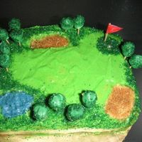 Golf Course Cake I used BC and coloured crystals for teh rough, and bunker. the trees are minimarshmallows covered in BC and crystals.