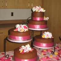 Chocolate Wedding Cake Made this as a wedding present for a friend. She had a beautiful, bright color scheme, including pink, yellow, brown, orange. She wanted...