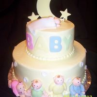 Fondant Babies This is a buttercream covered cake with fondant babies, moon and stars. This is a copy of a Wilton cake.