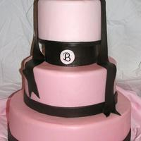 Ombre Pink & Chocolate Brown All fondant with freehanded monogram. Thanks for looking!