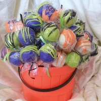 100 Halloween Cake Truffles WASC with orange BC; tinted vanilla coating and squigglies. Priced them $1 each and sold them all. Thanks for looking!