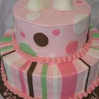 Lookie-A Baby Shower Cake W/ Polka Dots & Stripes! Like we've never seen THIS design before! Well, it's still cute! WASC with Nutella mousse filling, BC, fondant dots and bows,...