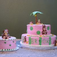Monkey Cake 1st Birthday cake. BC with MMF accents and monkey figures. I loved doing the bananas! Thanks to CC and their monkey category. I was short...