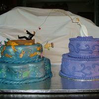 Rehearsal Dinner Cake What a FUN cake and what a time crunch I had for this cake. The groom's cake is fondant with fish and boat. The cake and fish are hand...