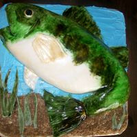 Bass Cake All fondant, hand painted scales/fins, etc. Thanks for looking!