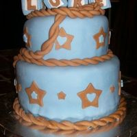 "Cowboy Baby Cake Baby shower cake for ""cowboy luke"". All fondant with fondant baby blocks. THanks for looking!"