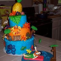 Luau Birthday Cake Luau birthday cake. All fondant with fondant decorations. Pineapple is rice krispies covered in fondant. Thanks for looking!