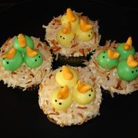 Baby Chick Cupcakes  Lemon cream cupcakes with fondant baby chicks and toasted coconut. Made to look like baby chicks in a nest. These were based off a picture...