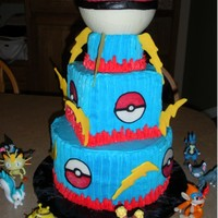 Pokemon Ball Cake   Large Pokemon ball is made of chocolate with a hollow center so that a toy can hide in it. All other decorations are chocolate also.