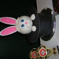 "Pull A Rabbit Out Of A Hat Cake!   This is a 3 - 8"" layer round cake...covered in fondant. I used cardboard (covered in fondant) for the rim. Fun to make!"