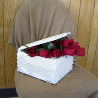 Basket Of Roses Cake Basket Cake (basketweave) with basketweave cake lid. roses oveflowing from.