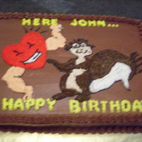 "New Heart For ""squirrel"" Birthday cake ordered by lady for her husband who's nickname is ""Squirrel"". He'd just had open heart surgery and got a..."