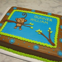 Monkey Baby Shower all buttercream with fondant monkey and accents. tfl