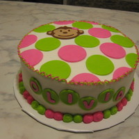 Girl Monkey Bday 8 inch round all buttercream with fondant monkey and polka dots. tfl