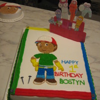 Handy Manny all buttercream with fondant nails and edible image plaque. smash cake all buttercream