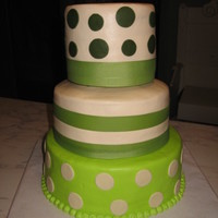 Dots this was done for a small wedding. 6,8,and 10 inch round cakes iced in buttercream with fondant dots and ribbon.tfl