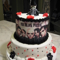 My Chemical Romance all buttercream with edible image and fondant marching guy. tfl