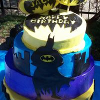 Batman 3 tier buttercream with fondant accents for my two sons' birthday. They loved it! Thanks to tisaex for inspiration! TFL