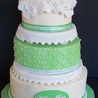 3 Tier Oval IMBC with fondant/gumpaste baby blanket and booties for my sister's baby shower. Thanks for looking!