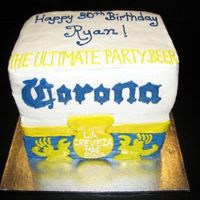 Corona Beer Case   I made this cake for my brother and everyone at the party thought it was the real thing.Its all buttercream.