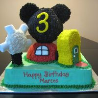 Mickey Mouse Clubhouse  I received all the inspiration for this cake from other members on this site....thank you very much! This is a marble cake with buttercream...