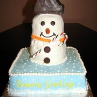 Snowman   I made this cake for my companys' Christmas party to raffle off. The winner shared this all buttercream cake with all of us. :)