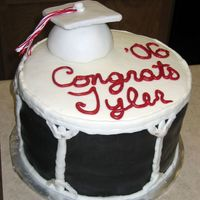Graduation For Drum Line Grad This was for my friend's brother who was in drum line. Black MMF around the sides. White fondant for the cap over styrofoam and...