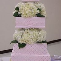 Chelsea's Cake Second wedding cake--still hate squares! All BC with gold dragees.Fresh flowers furnished by the bride--wish they had been a shadeof pink....