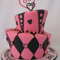 Pink & Black Topsy Turvy Cake This was for a couple's engagement party.