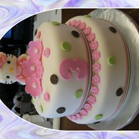 "Hello Kitty 10"" and 8"" round fondant covered. Hello Kitty is marshmallow sucker, thanks to all of those before me."