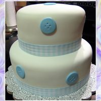 Blue Buttons Baby Shower Fondant covered with ribbon trim. Buttons to match the theme. A little plain for my taste but what the customer wants.....