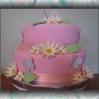 Pink With Butterflies And Daisies Fondant with gumpaste butterflies and daisies