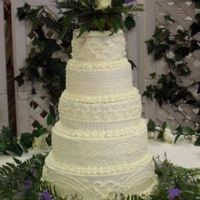 Buttercream Wedding Cake This was a five tierd weddng cake I did for my coworker. Thanks for looking.