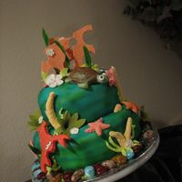 Under The Sea Fondant with Royal Icing and Airbrushed background (it was my new birthday toy!)