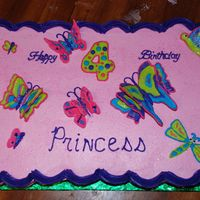 Butterflies And Glitter   Pull away cake for a 4 year olds Pink Princess Garden Butterfly Party.