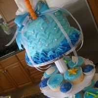 Tomi Hits The Beach! this was a overnight request for a beached theme first birthday party. 60 plus cupcakes, tons of glitter and white chocolate accents. smash...