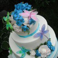 Summer Wedding Cake   White Fondant, Gumpaste Flowers, Dragonflies