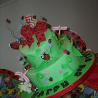 "Ladybug Birthday Wacky Cake Two teired ""fake"" wacky cake for my daughters 3rd birthday"