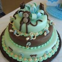 Monkey Baby Shower Cake MMF with gumpaste details and icing borders