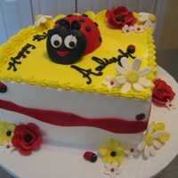 Ladybug Cake For Aaliyah Buttercream icing with fondant detail and gumpaste accents; cake was lite french vanilla tinted yellow with black and red confetti