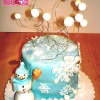 Snowman In fact this was a birthday cake, the young lady was turning 11 and I put 11 balls on top. Choco cake covered with fondant and RI...