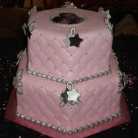 Devra's Cake Black; silver and pink were the shower colors; requested a photo of the couple on the cake; bride wanted stars~! They loved it~! Hexagon...