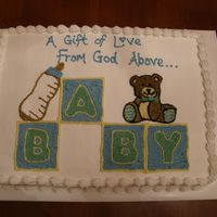 Baby Shower Sheet cake. I used to post it notes to use for a quick outline of the blocks.