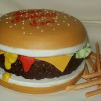Cheeseburger And Fries  This is a three-layer cake done in buttercream with fondant trims. I have a small cake business and a website, and am wondering if I...