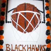Basketball Cake   Thanks to jennifer293 for the inspiration. I made this for my son's basketball banquet. It was a lot of fun to make.