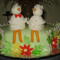Love Birds Birds and all decoration on the cake was made of fondant.