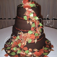 "Fall Leaves Wedding Cake 8-10-12-14 round tiers. 8"" is French vanilla cake with strawberry buttercream filling. 10"" is fresh strawberry cake with vanilla..."