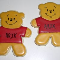 Pooh Bear Cookies These were for a baby shower with a Pooh Bear theme. Decorated with Royal icing.