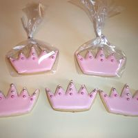Princess Crown Cookies These wer for my daughter's 5th b-day. Decorated with royal icing and pink and silver dragees.