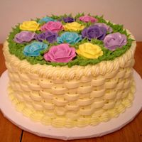 Basket B-Day This was for my friend--any cake she wants has to be yellow basketweave. LOL She wanted spring colors, so that is what she got. :)